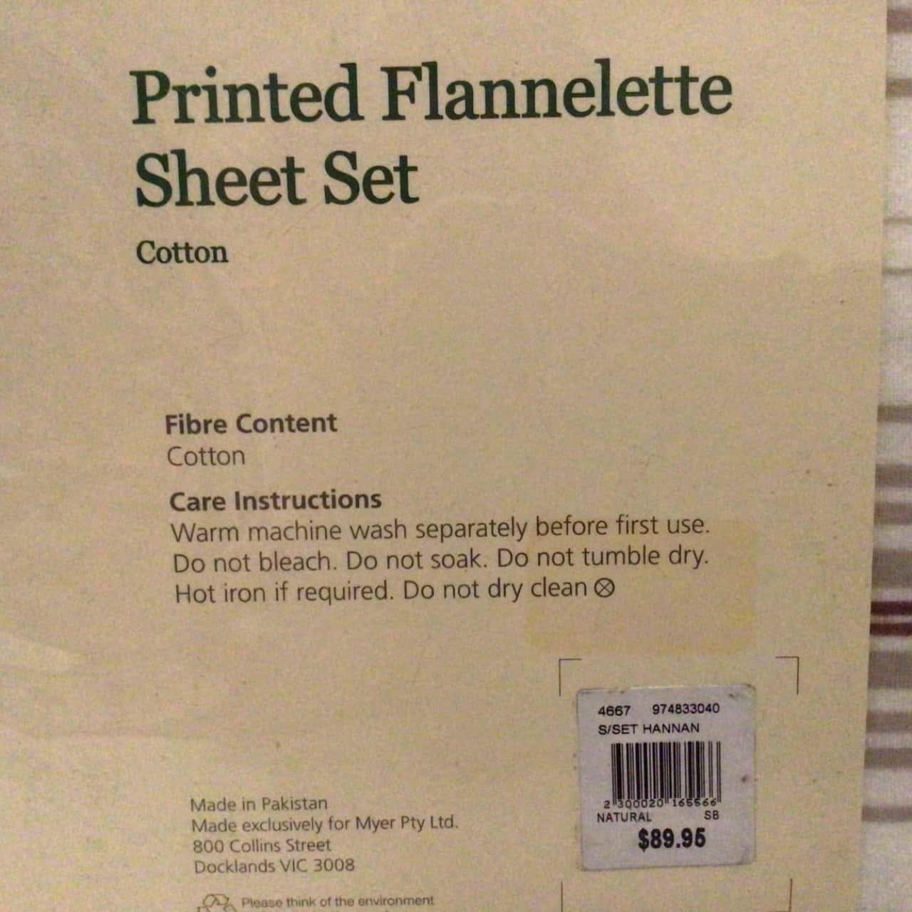 BNWT MYER HERITAGE SINGLE BED PRINTED FLANNELETTE RRP SHEET SET  RRP $89.95