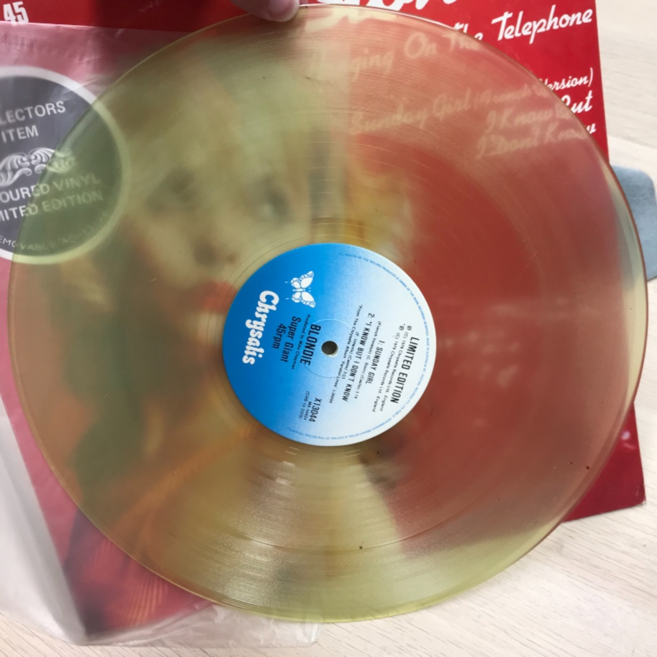"""Blondie Coloured Vinyl  - Hanging On The Telephone - Limited Edition Collectors Item -  Super Giant 45 - 12"""" Single"""