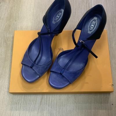 Tods Womens Cornflower Blue Suede Heels Size 41 RRP: $725