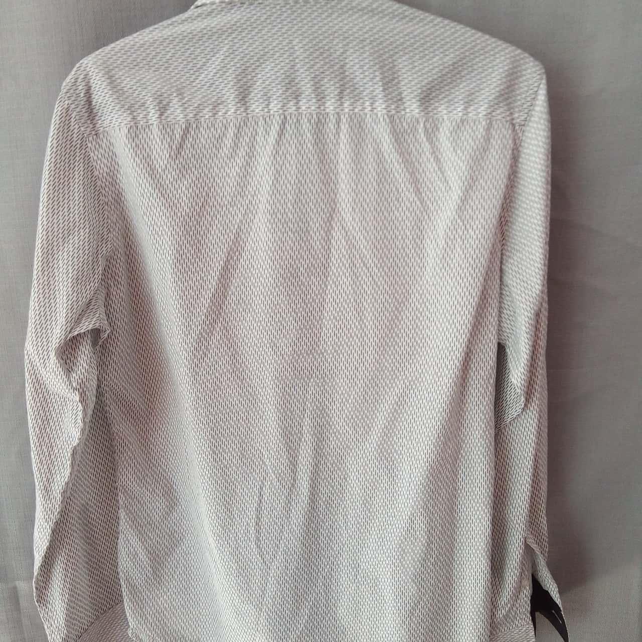 Tarocash Mens White With Black Pattern Long Sleeve Shirt Size S UAN