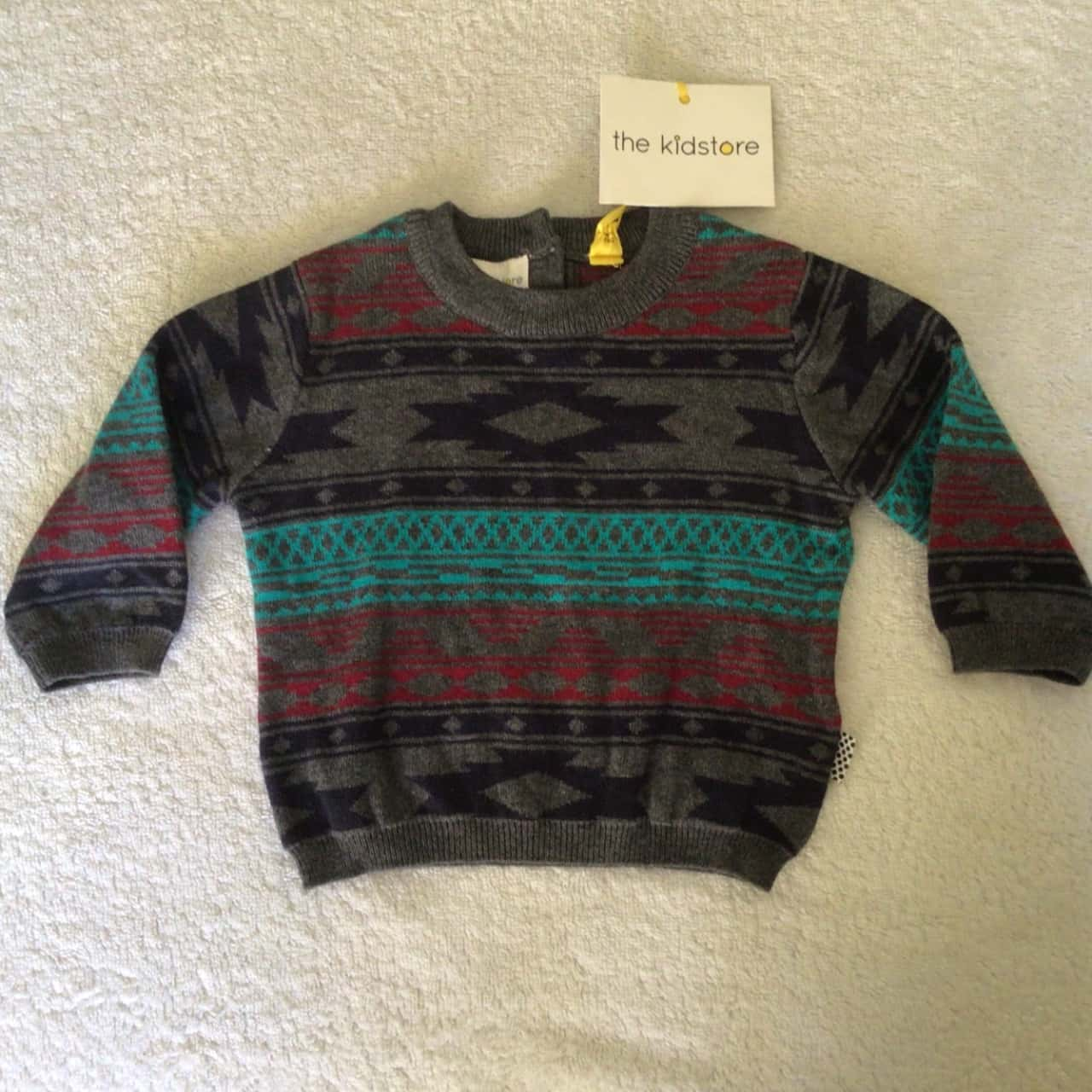 BNWT THE KIDS STORE KNITTED JUMPER  Size 3-6m Grey/ Green / Red / Black