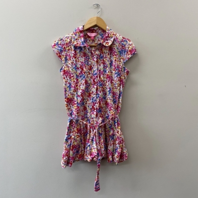 Pink Sugar Girls Short Sleeve Dress With Belt Size 14 Multicoloured Floral