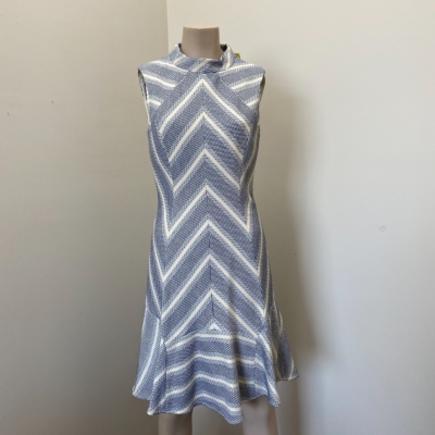 Karen Millen Designer Women's Sleeveless Patterned Dress Size 12 Cream/Navy Blue - New With Tags *Designer Label*