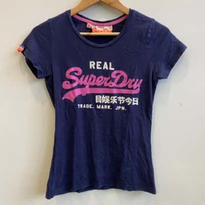 Superdry Vintage Womens Large Print Navy T-shirt Size S