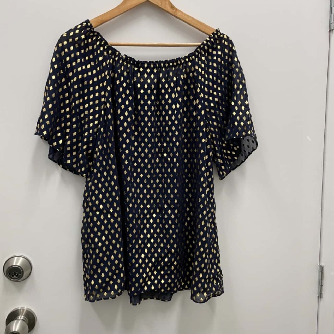 SUSSAN BNWT RRP $129.95 Womens Size 12 Blouse Gold/Navy Blue