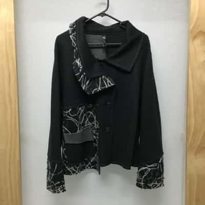 Taking Shape, Black and grey cardigan, TS Size S/Reg size 16 - 18