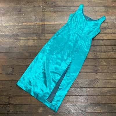 Vintage Satin 1960s Turquoise Dress Size 8/10