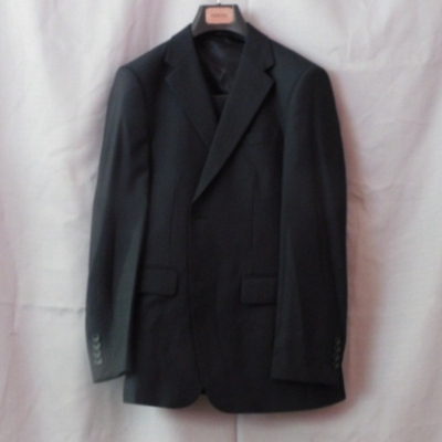 Fancini Mens 3 Piece Black with Blue & Cream Pinstripe  Single Breasted Suit Size 48  UAN