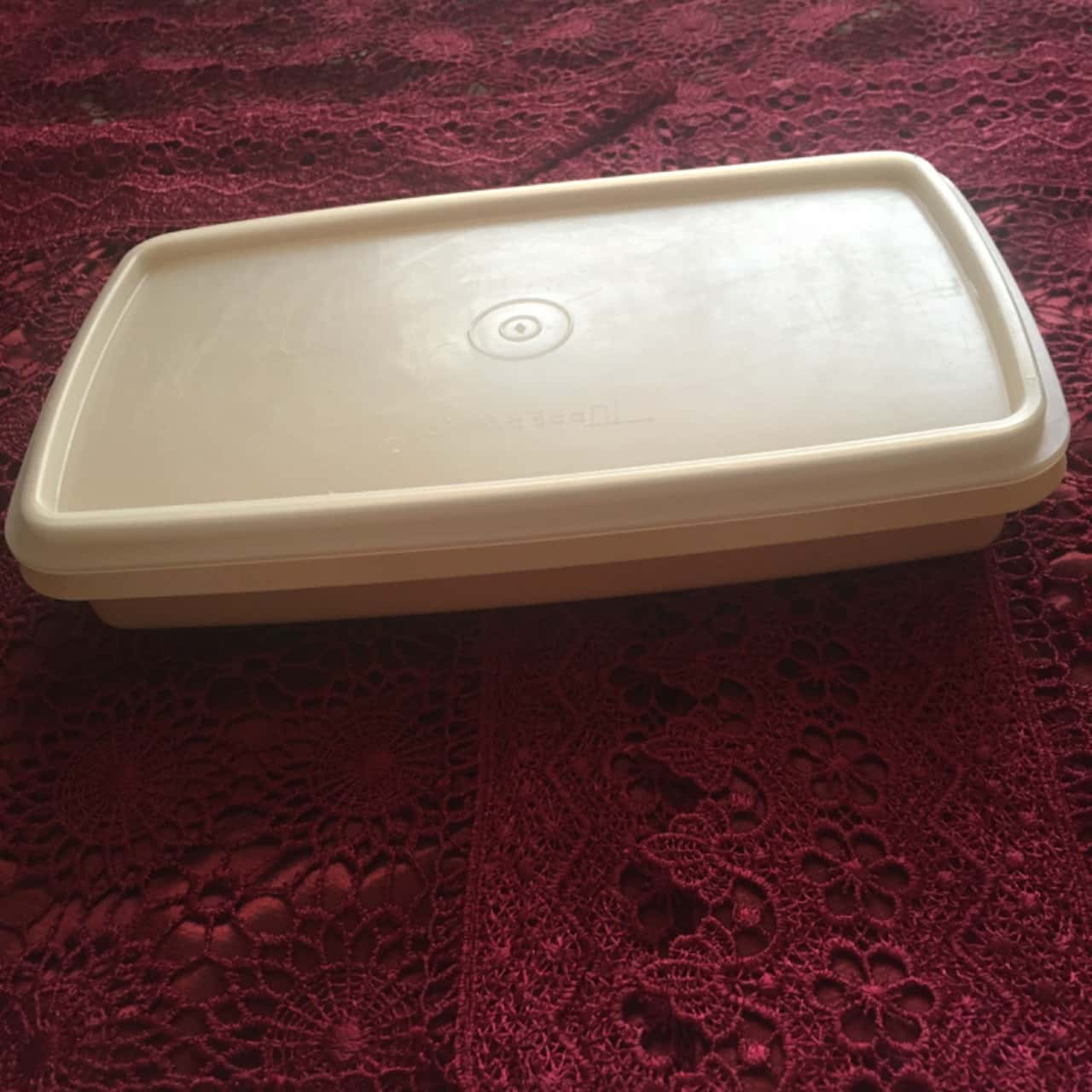 Tupperware Rectangle Flat Storage Container, Clear/Yellow