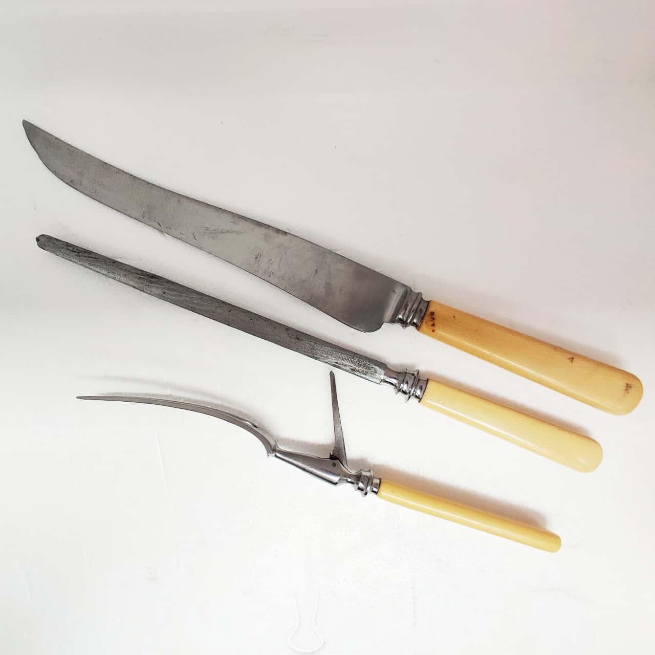 Stainless Steel Carving Knife Set including Knife Fork & Sharpening Steel