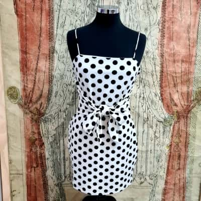 Sabo Skirt Womens  Size L Mini Dress Black /Polka Dot/White