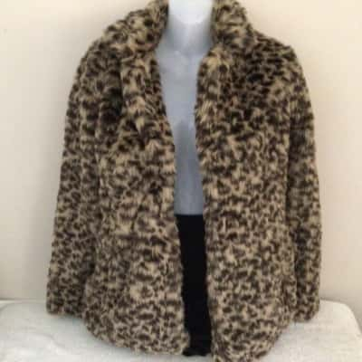 Womens NEXT FAUX FUR JACKET LEOPARD PRINT Size 10 RRP $125 (F£70)
