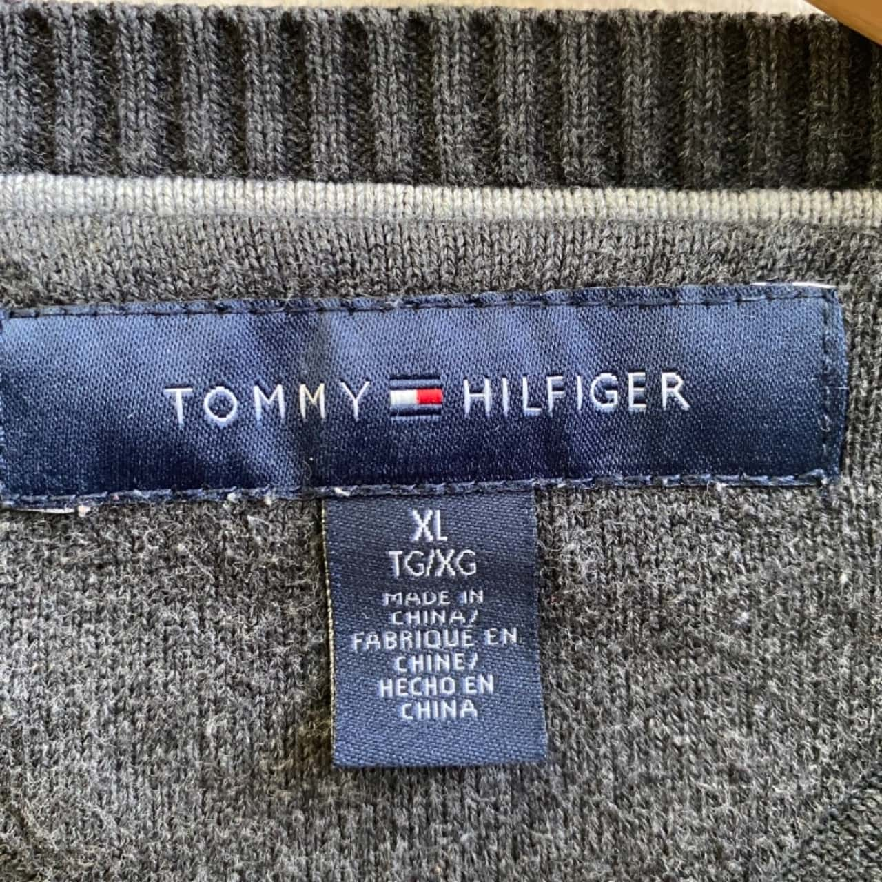 Tommy Hilfiger Mens Stripe Grey Jumper Size XL