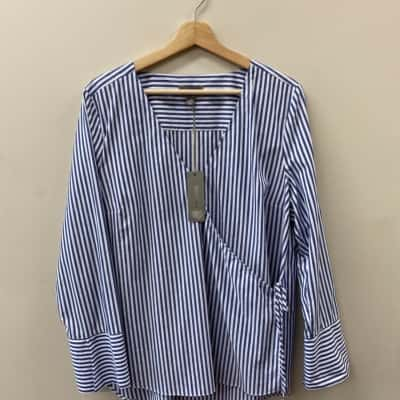 Sussan Womens Size 14 Blue & White Stripped Long Sleeve Cotton Blouse