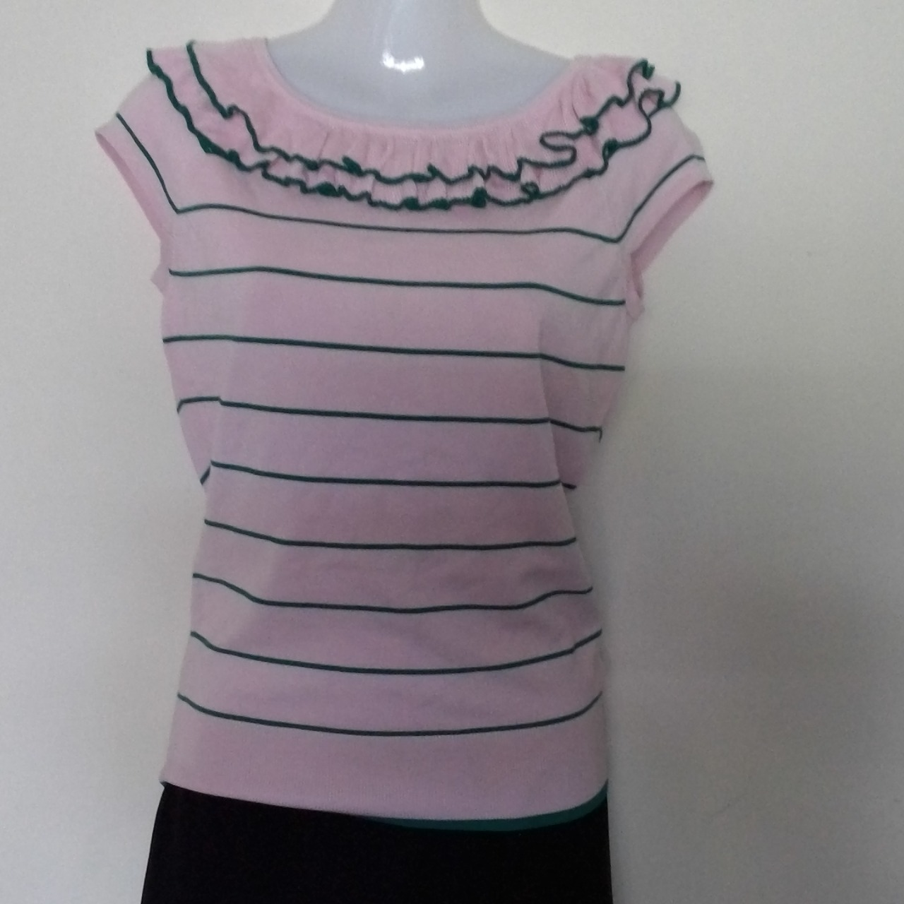 BNWT Womens  REVIEW KNITTED STRIPE TOP Size 10 Short Sleeve Pink /Green FRILL NECK RRP $139.99