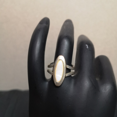 Womens Silver Ring with White Stone