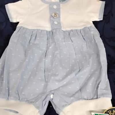 Kids Onesie Blue/White Bunnykins To Fit 3 month old