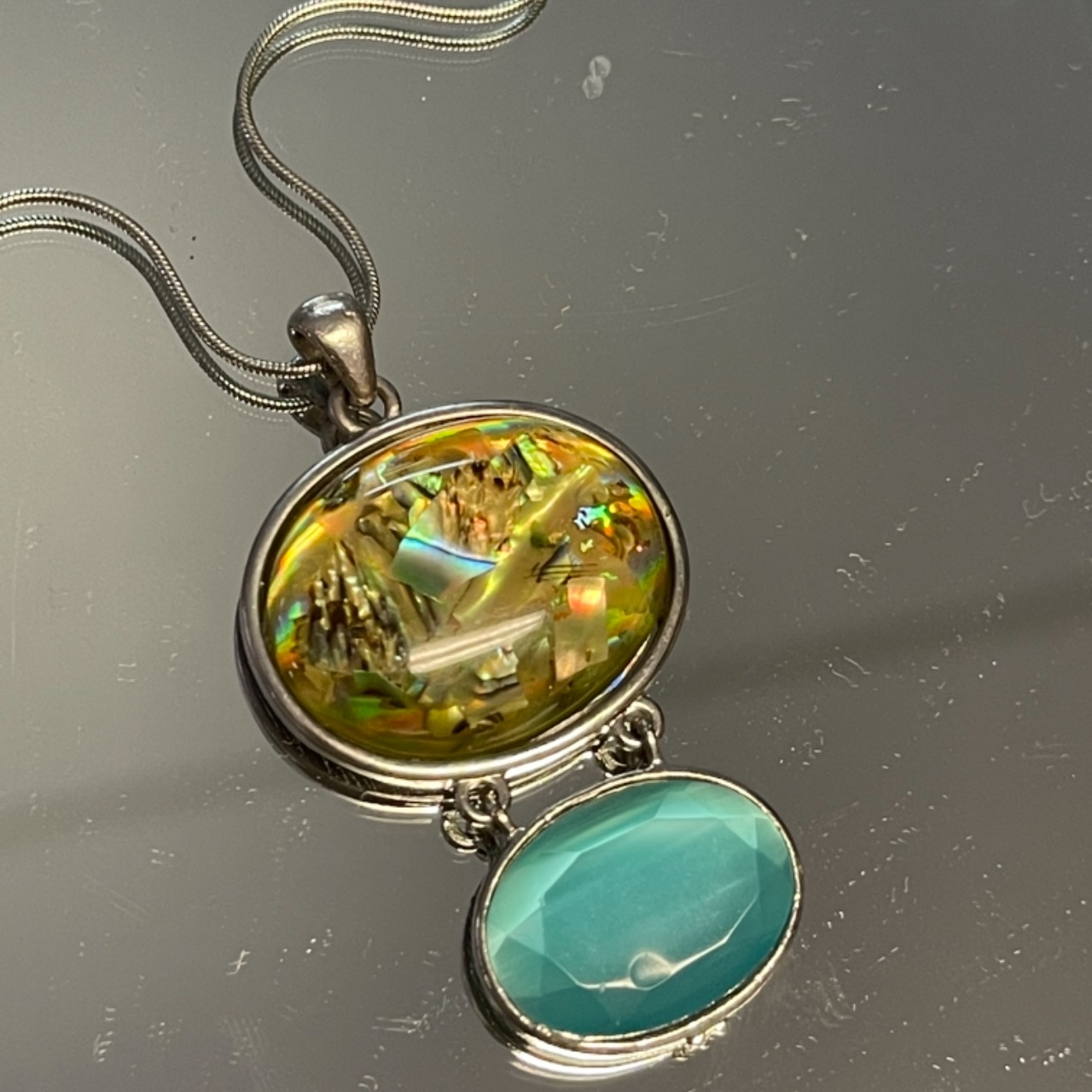 Silver Tone, Two Stone, Necklace, Gender Neutral, yellow, Aqua