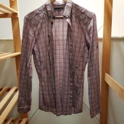 SABA Mens Shirt Long Sleeve Red/Striped/White Size S