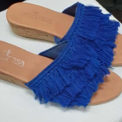 Ananasa Blue Tassel Slides Size 7-8