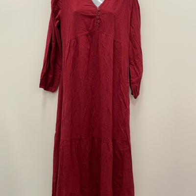 ZANEA Womens  Size L Midi Dress Maroon Short sleeve