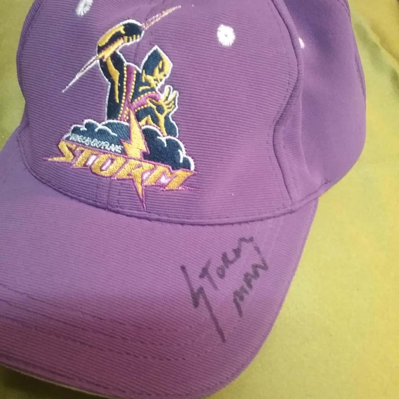 Melbourne Storm member cap signed by Storm Man unworn