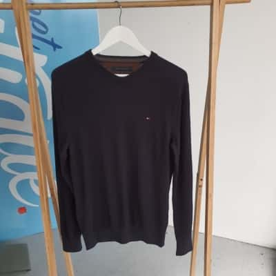 TOMMY HILFIGER - 100% LAMBSWOOL Size M Mens Navy Blue Jumper