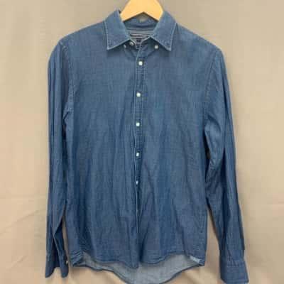 Tommy Hilfiger Mens New York Fit Shirt Size S Indigo Cotton
