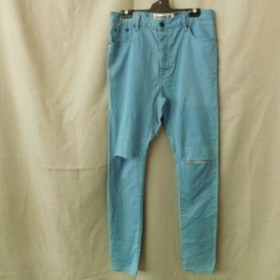 Samson & Taylor Men's Light Blue Jeans Drop Crotch with Slashed Knees Size M (32) NWT RRP $59