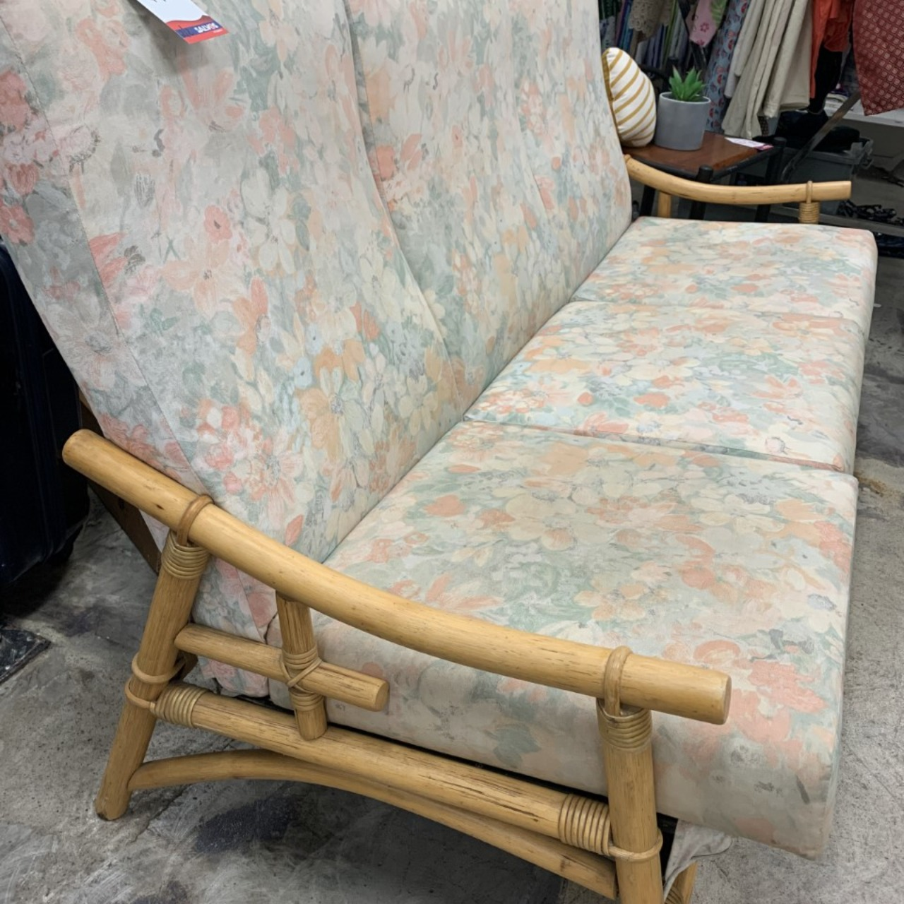 Vintage cane 3 seater couch