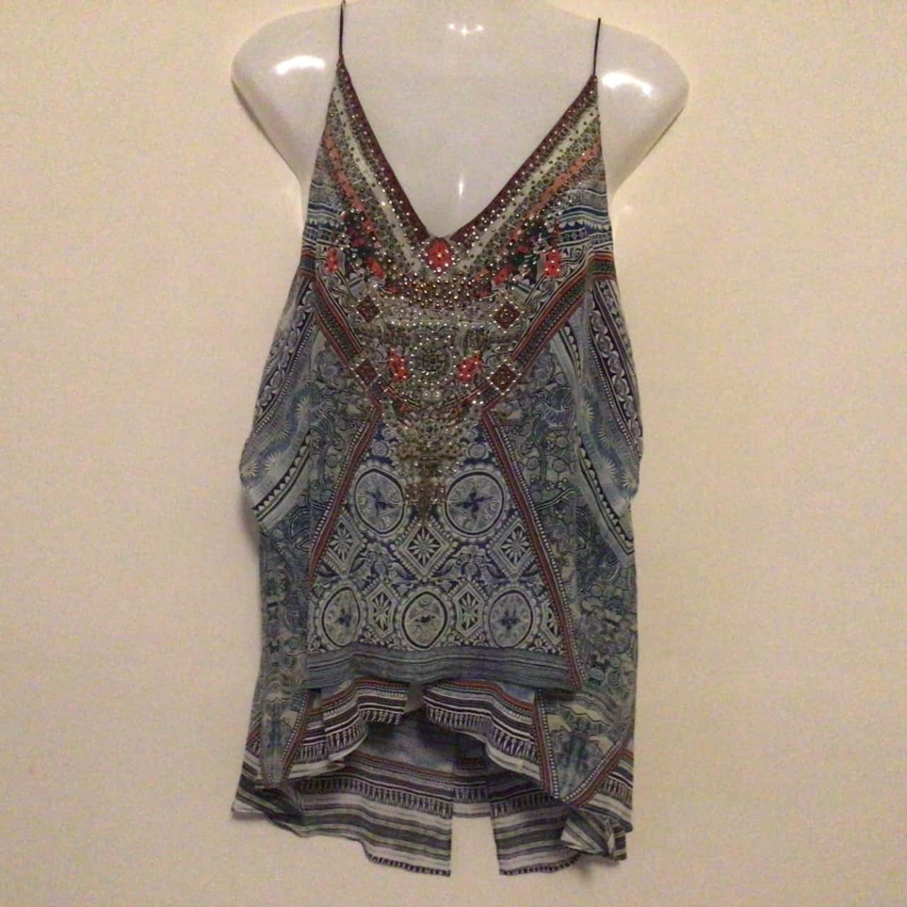 NWOT Womens CAMILLA EMBELLISHED SILK CAMI TOP Size XS  Blue/Multicoloured