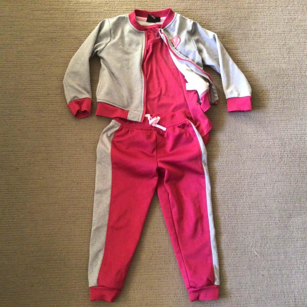 NWOT Girls 3 PCE TRACKSUIT  Size 4 Sportswear Grey/Pink