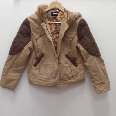 Womens PURE SEXY BRAND FAUX FUR  HOODED JACKET Size 10/12 Brown