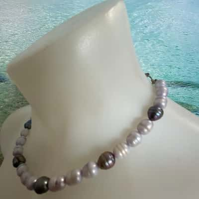 REDUCED TO CLEAR Womens Necklaces Cream/Grey PEALS