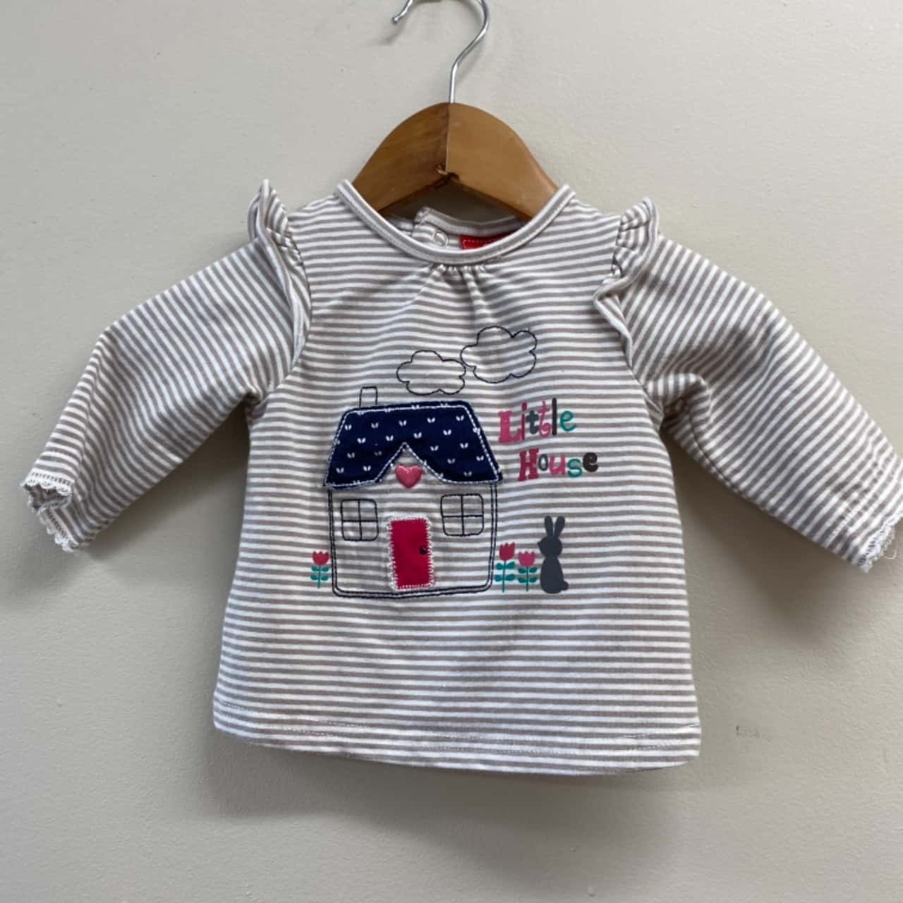 Sprout 000 Baby Brown and White Striped Top