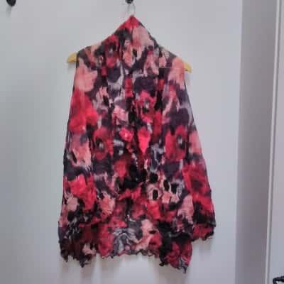 Women's Black/Pink/Purple Flower Floral Top M