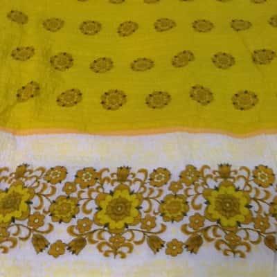 Vintage seersucker table cloth 240 x 150 cm yellow brown orange white