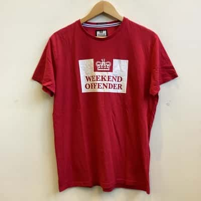 Weekend Offender Mens Size L Crew Neck Red T-Shirt