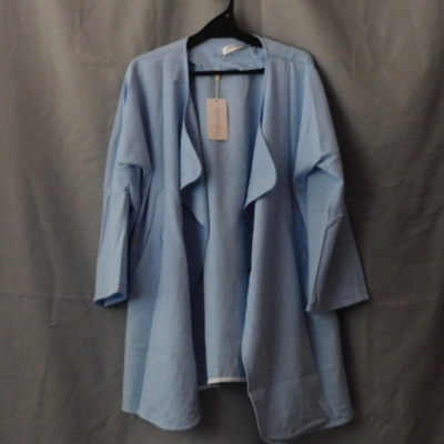 Tang Ling Rui Ladies Light Blue Jacket with Large Collar  Size 4XL NWT