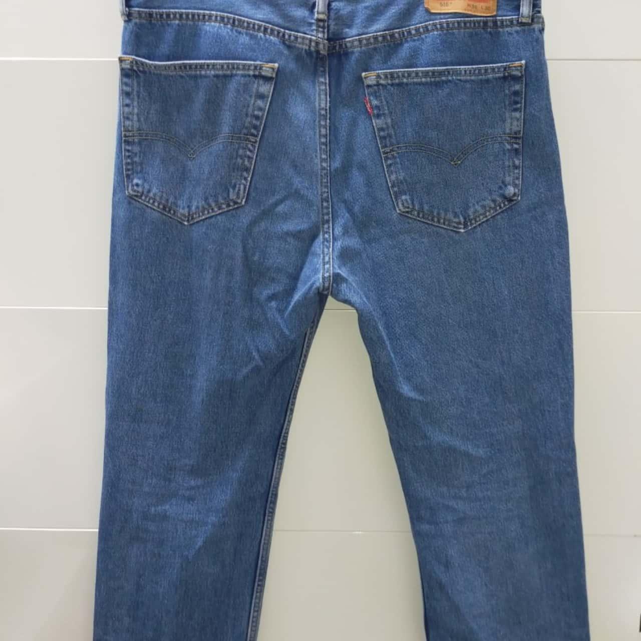 Levis Mens Size 36 Straight Jeans Blue