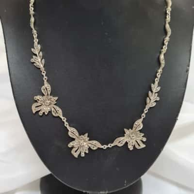Womens Silver Marcasite Necklace