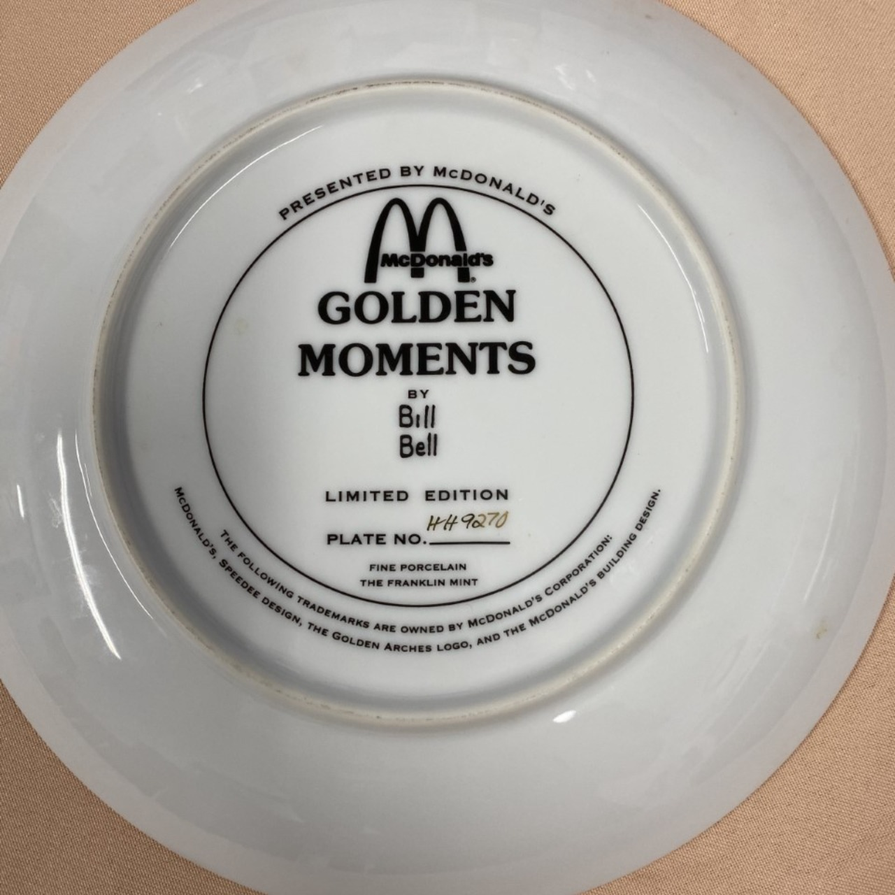 Mcdonald's Golden Moments Limited Edition Plate