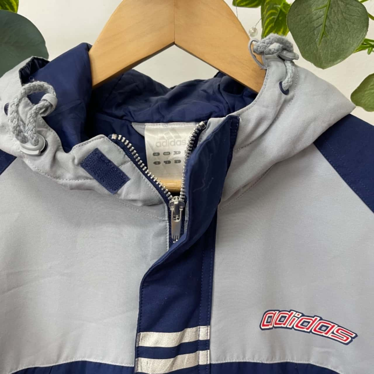 Adidas Vintage Mens  Size S Grey/Navy Blue
