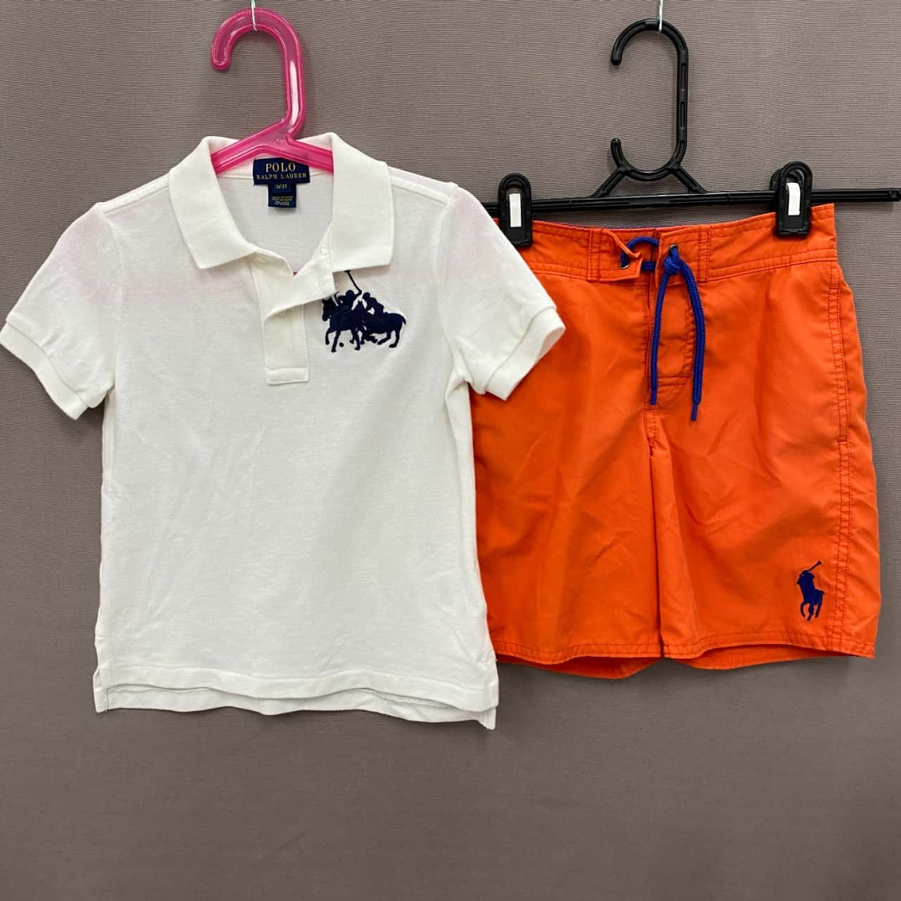 Polo Ralph Lauren Kids Shorts and Polo Size 5 Orange/White