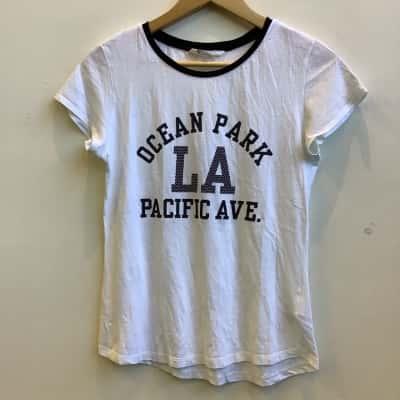 """H&M Girls Size 15 White """"LA Ocean Park Pacific Avenue"""" Tee"""