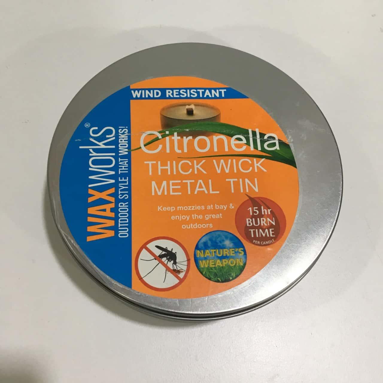 Citronella Thick Wick Metal Tin