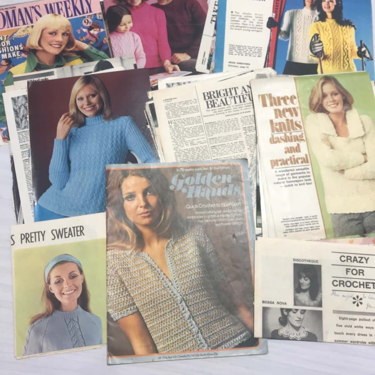 Collection of Vintage Retro Knitting Crochet Craft Clippings