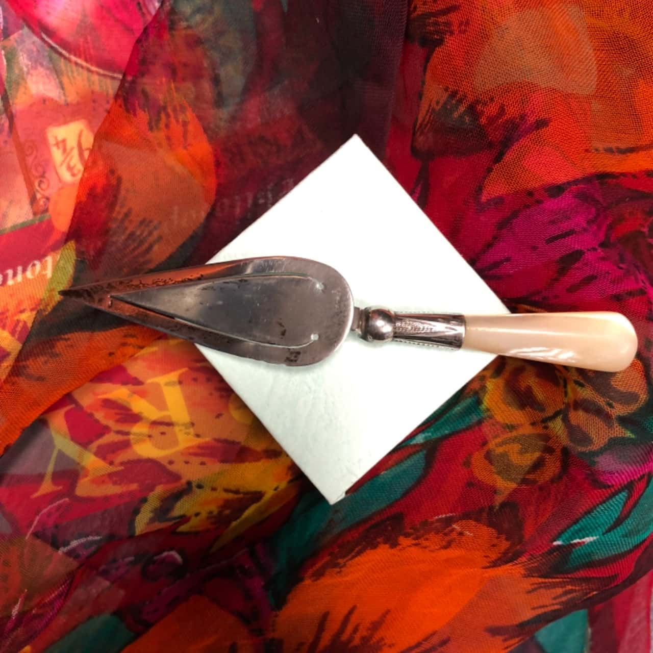 Silver Letter Opener with Mother of Pearl Handle