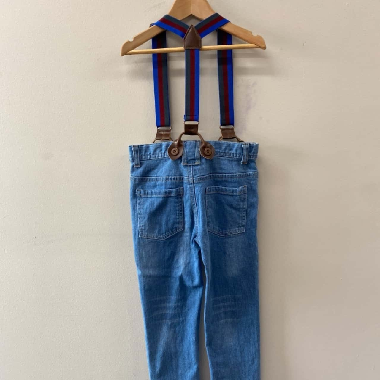 Target Kids Size 6 Overall Pants Blue/Striped Denim Look