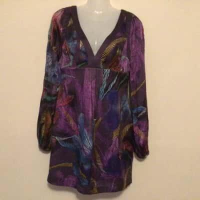 NWOT Womens  SEDUCE SILK LONG SLEEVE DRESS Size 8 Multicoloured/Purple
